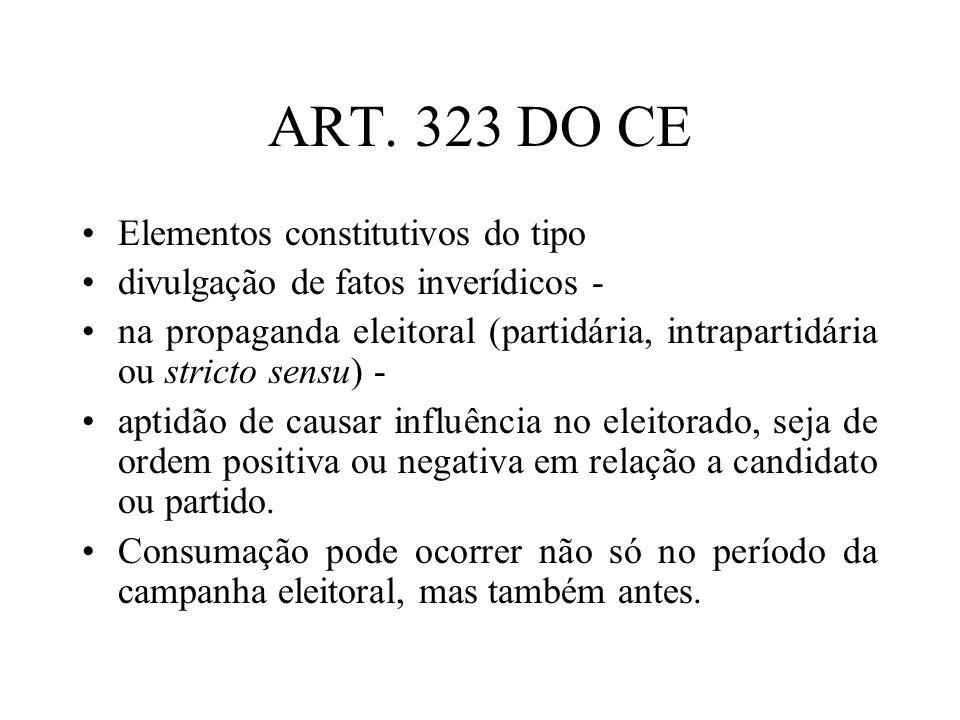 ART. 323 DO CE Elementos constitutivos do tipo divulgação de fatos inverídicos - na propaganda eleitoral (partidária, intrapartidária ou stricto sensu