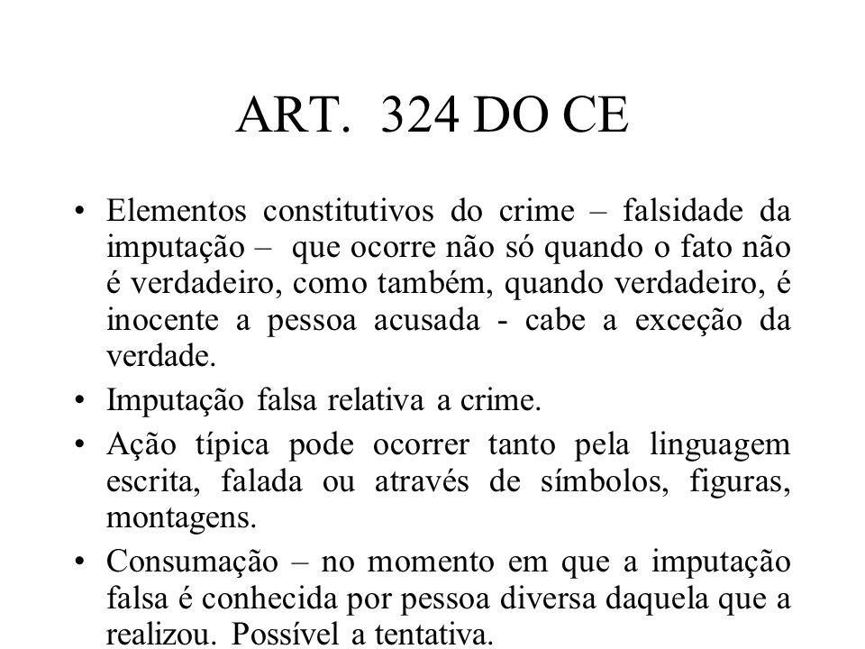 ART. 324 DO CE Elementos constitutivos do crime – falsidade da imputação – que ocorre não só quando o fato não é verdadeiro, como também, quando verda