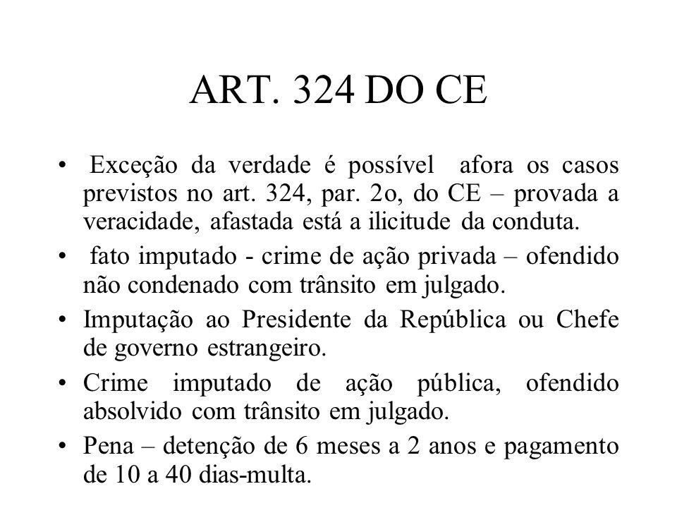 ART. 324 DO CE Exceção da verdade é possível afora os casos previstos no art. 324, par. 2o, do CE – provada a veracidade, afastada está a ilicitude da