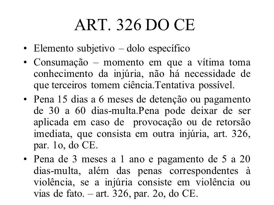 ART. 326 DO CE Elemento subjetivo – dolo específico Consumação – momento em que a vítima toma conhecimento da injúria, não há necessidade de que terce