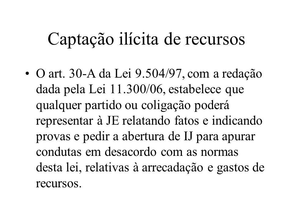 Captação ilícita de recursos O art. 30-A da Lei 9.504/97, com a redação dada pela Lei 11.300/06, estabelece que qualquer partido ou coligação poderá r