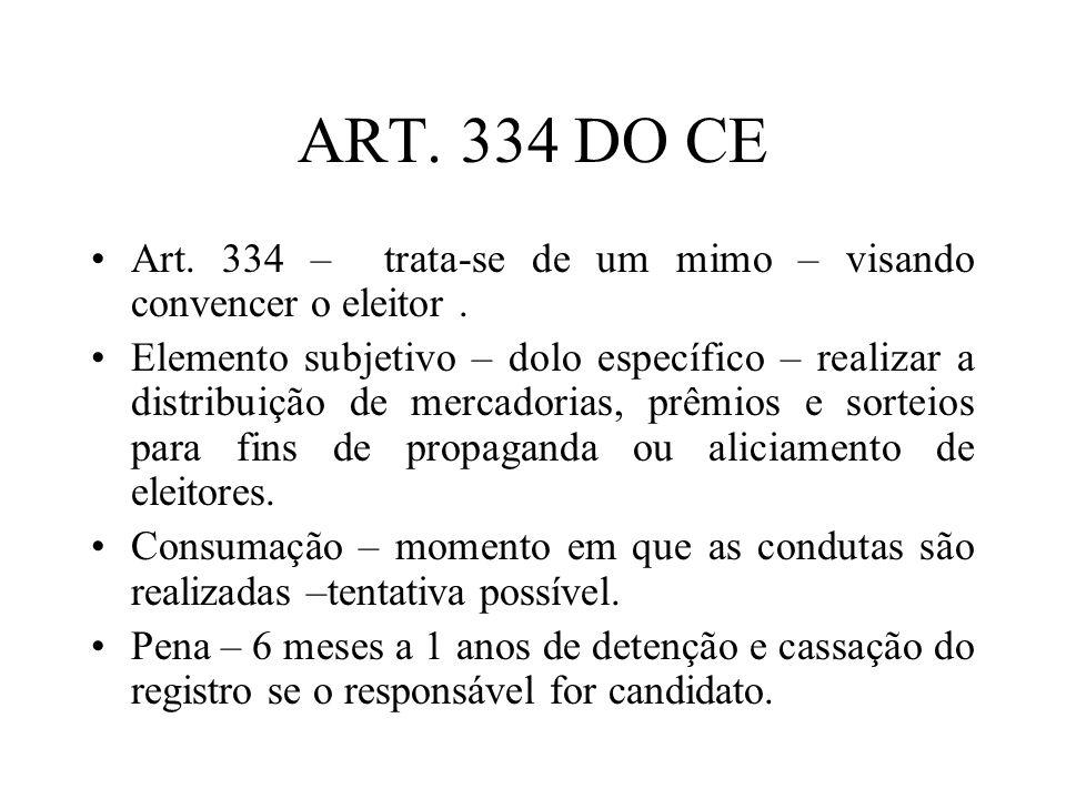 ART. 334 DO CE Art. 334 – trata-se de um mimo – visando convencer o eleitor. Elemento subjetivo – dolo específico – realizar a distribuição de mercado