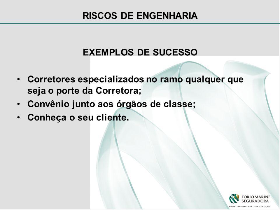 RISCOS DE ENGENHARIA EXEMPLOS DE SUCESSO Corretores especializados no ramo qualquer que seja o porte da Corretora; Convênio junto aos órgãos de classe; Conheça o seu cliente.