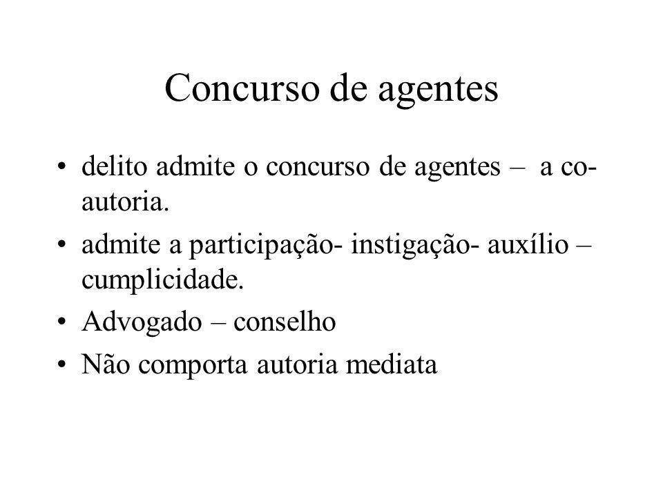 Concurso de agentes delito admite o concurso de agentes – a co- autoria. admite a participação- instigação- auxílio – cumplicidade. Advogado – conselh