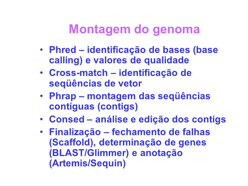Montagem do genoma Phred – identificação de bases (base calling) e valores de qualidade Cross-match – identificação de seqüências de vetor Phrap – montagem das seqüências contíguas (contigs) Consed – análise e edição dos contigs Finalização – fechamento de falhas (Scaffold), determinação de genes (BLAST/Glimmer) e anotação (Artemis/Sequin)