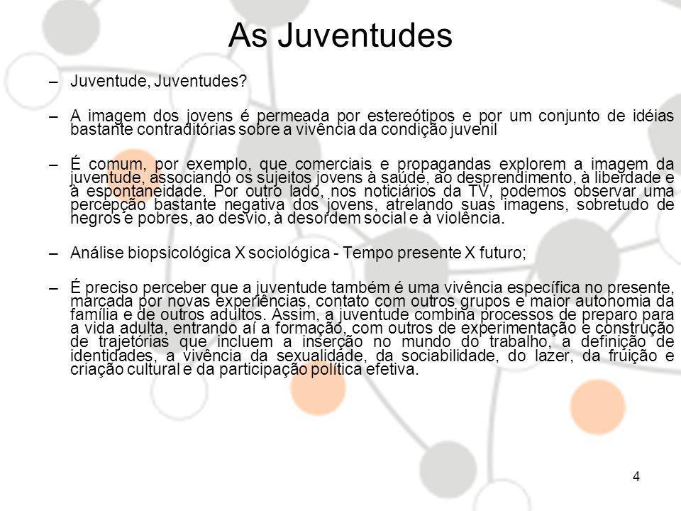 As Juventudes ONU: 15 – 24 anos OIJ (Organização Ibero-americana de Juventude): 15 – 29 anos Legislação brasileira: 15 – 29 anos, a Política Nacional de Juventude, conforme dispositivo na Lei Federal Nº.