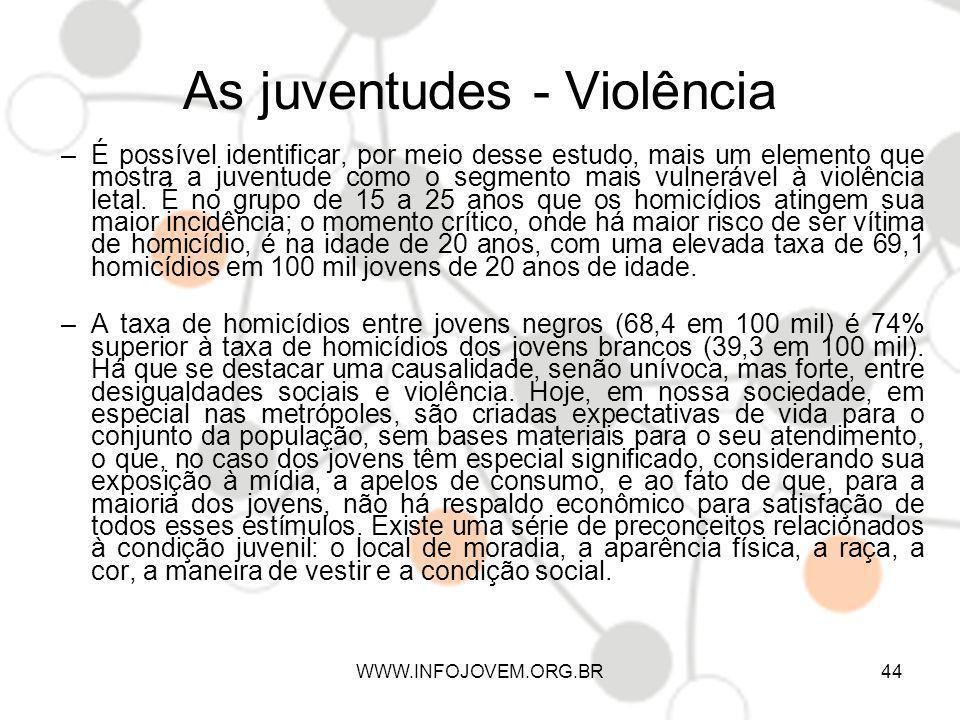 As juventudes - Violência –É possível identificar, por meio desse estudo, mais um elemento que mostra a juventude como o segmento mais vulnerável à vi