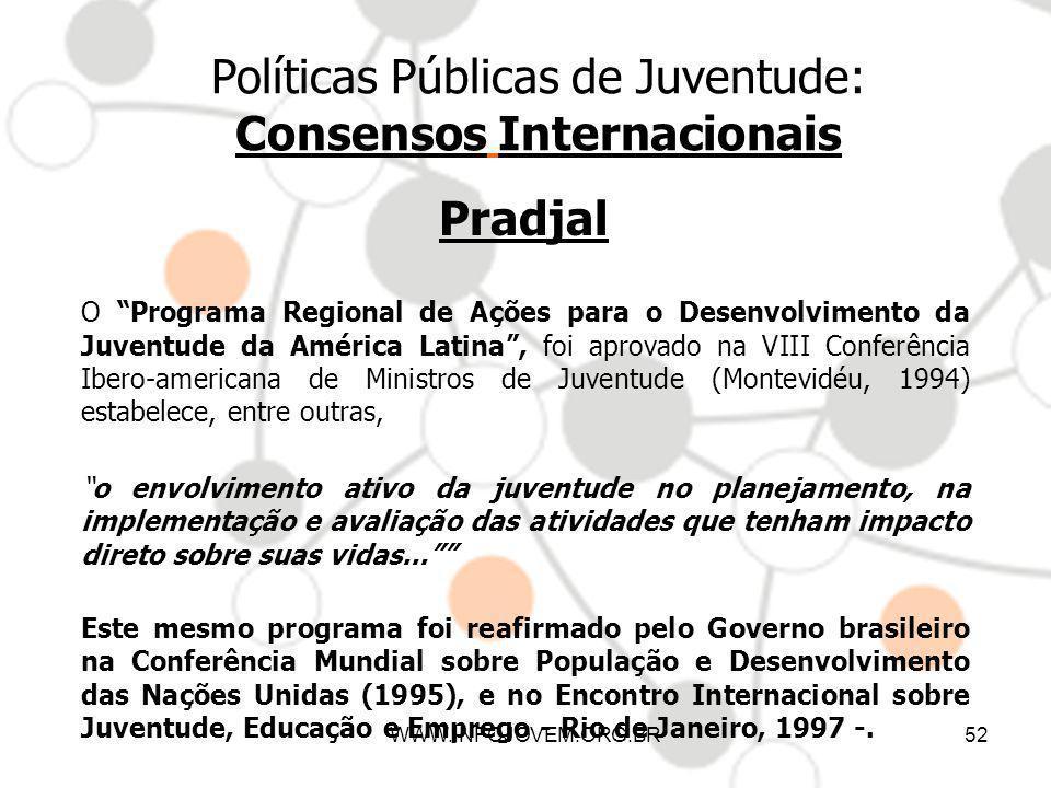 WWW.INFOJOVEM.ORG.BR52 Políticas Públicas de Juventude: Consensos Internacionais Pradjal O Programa Regional de Ações para o Desenvolvimento da Juvent
