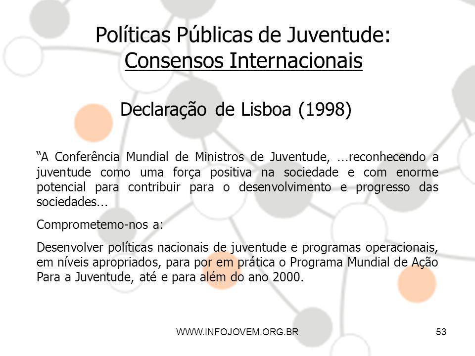 WWW.INFOJOVEM.ORG.BR53 Políticas Públicas de Juventude: Consensos Internacionais Declaração de Lisboa (1998) A Conferência Mundial de Ministros de Juv
