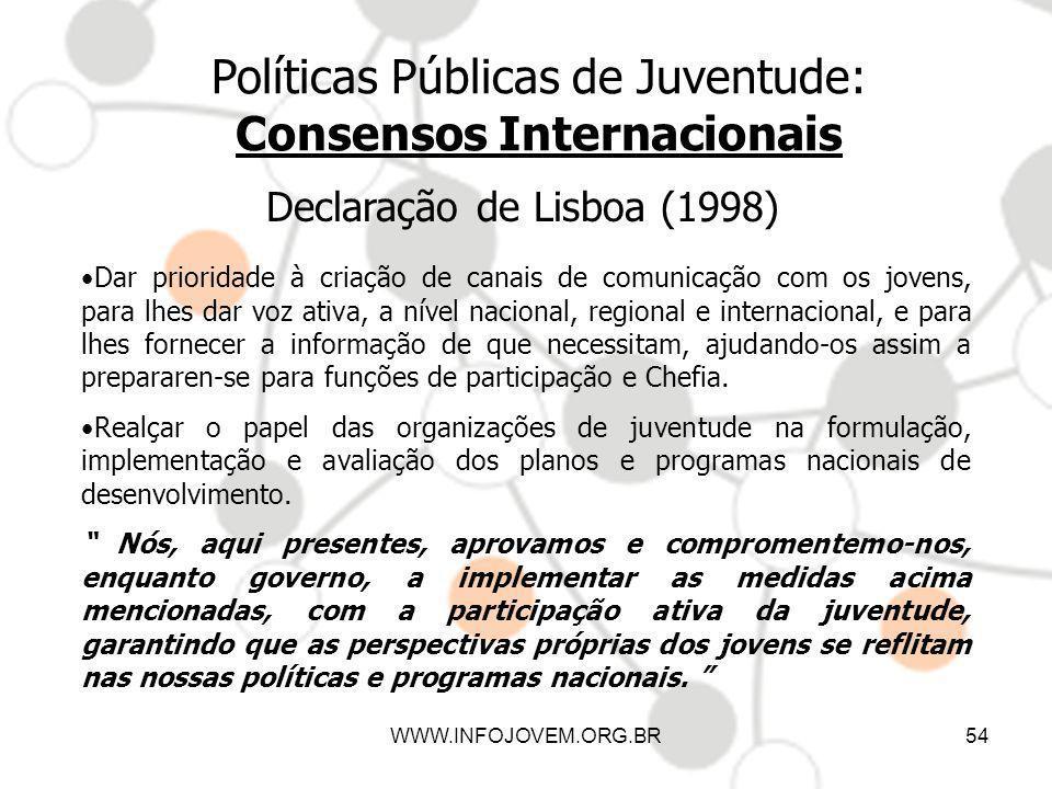 WWW.INFOJOVEM.ORG.BR54 Políticas Públicas de Juventude: Consensos Internacionais Declaração de Lisboa (1998) Dar prioridade à criação de canais de com