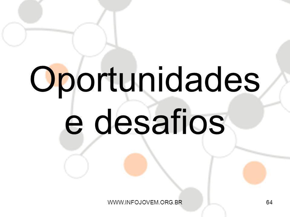Oportunidades e desafios WWW.INFOJOVEM.ORG.BR64
