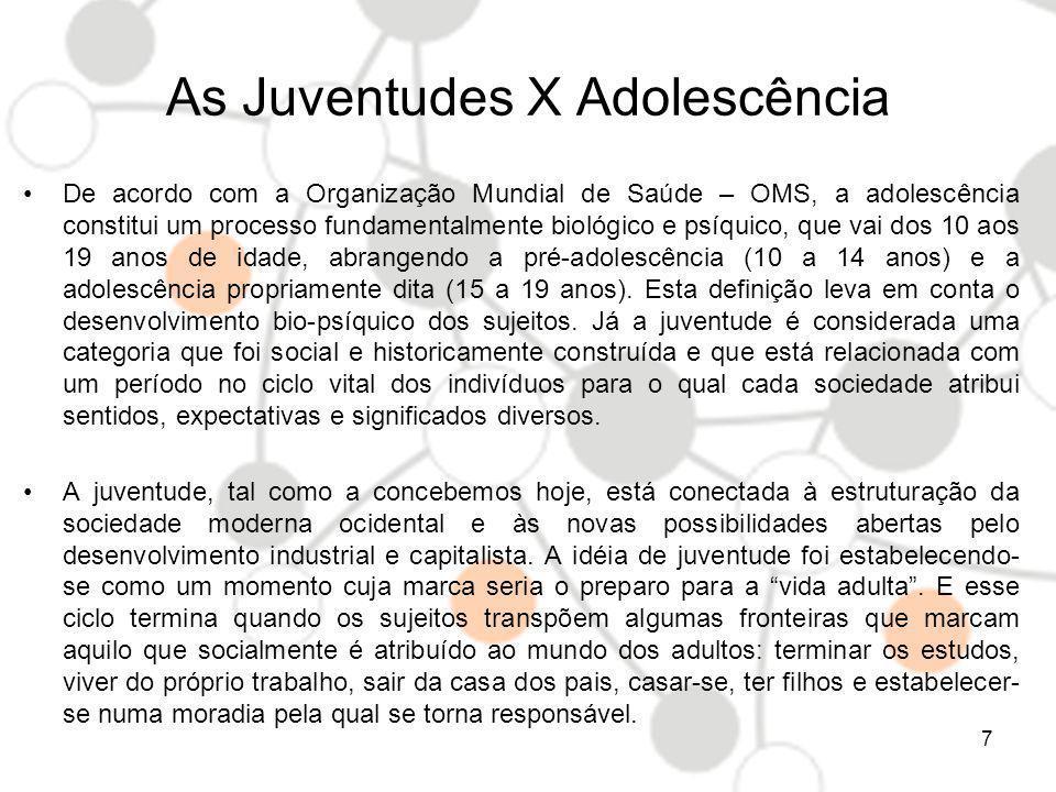 As Juventudes X Adolescência POLÍTICA DE CRIANÇAS E ADOLESCENTES Trata especificamente de tutela, defesa e proteção social do grupo de 0 a 18 anos e tendencialmente tem a prevalência de sua competência em relação a os jovens/adolescentes - dos 15 a 18 anos.