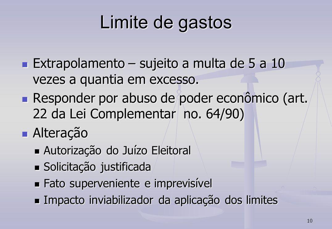 10 Limite de gastos Extrapolamento – sujeito a multa de 5 a 10 vezes a quantia em excesso. Extrapolamento – sujeito a multa de 5 a 10 vezes a quantia