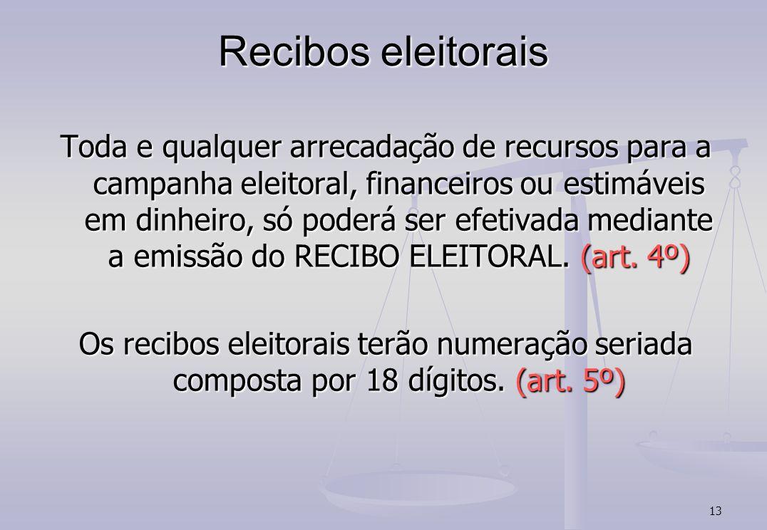 13 Recibos eleitorais Toda e qualquer arrecadação de recursos para a campanha eleitoral, financeiros ou estimáveis em dinheiro, só poderá ser efetivada mediante a emissão do RECIBO ELEITORAL.