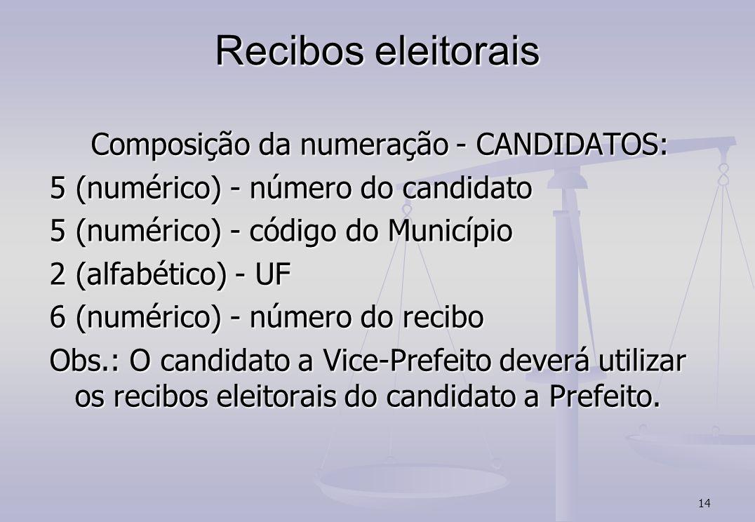 14 Recibos eleitorais Composição da numeração - CANDIDATOS: 5 (numérico) - número do candidato 5 (numérico) - código do Município 2 (alfabético) - UF 6 (numérico) - número do recibo Obs.: O candidato a Vice-Prefeito deverá utilizar os recibos eleitorais do candidato a Prefeito.