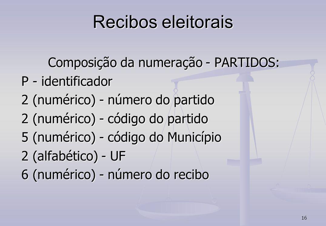 16 Recibos eleitorais Composição da numeração - PARTIDOS: P - identificador 2 (numérico) - número do partido 2 (numérico) - código do partido 5 (numérico) - código do Município 2 (alfabético) - UF 6 (numérico) - número do recibo