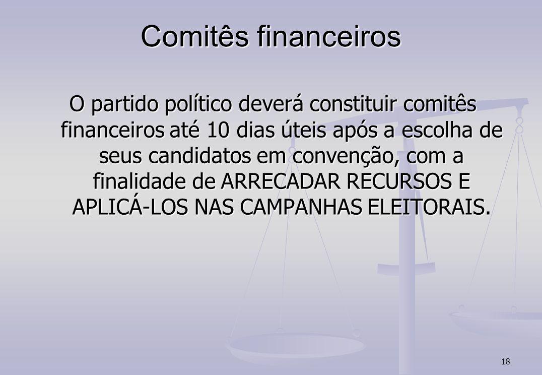 18 Comitês financeiros O partido político deverá constituir comitês financeiros até 10 dias úteis após a escolha de seus candidatos em convenção, com a finalidade de ARRECADAR RECURSOS E APLICÁ-LOS NAS CAMPANHAS ELEITORAIS.