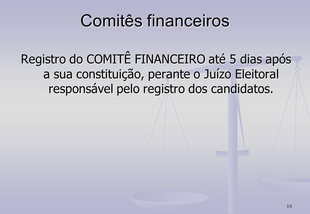 19 Comitês financeiros Registro do COMITÊ FINANCEIRO até 5 dias após a sua constituição, perante o Juízo Eleitoral responsável pelo registro dos candidatos.