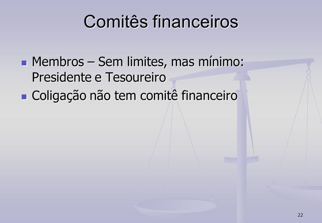 22 Comitês financeiros Membros – Sem limites, mas mínimo: Presidente e Tesoureiro Membros – Sem limites, mas mínimo: Presidente e Tesoureiro Coligação