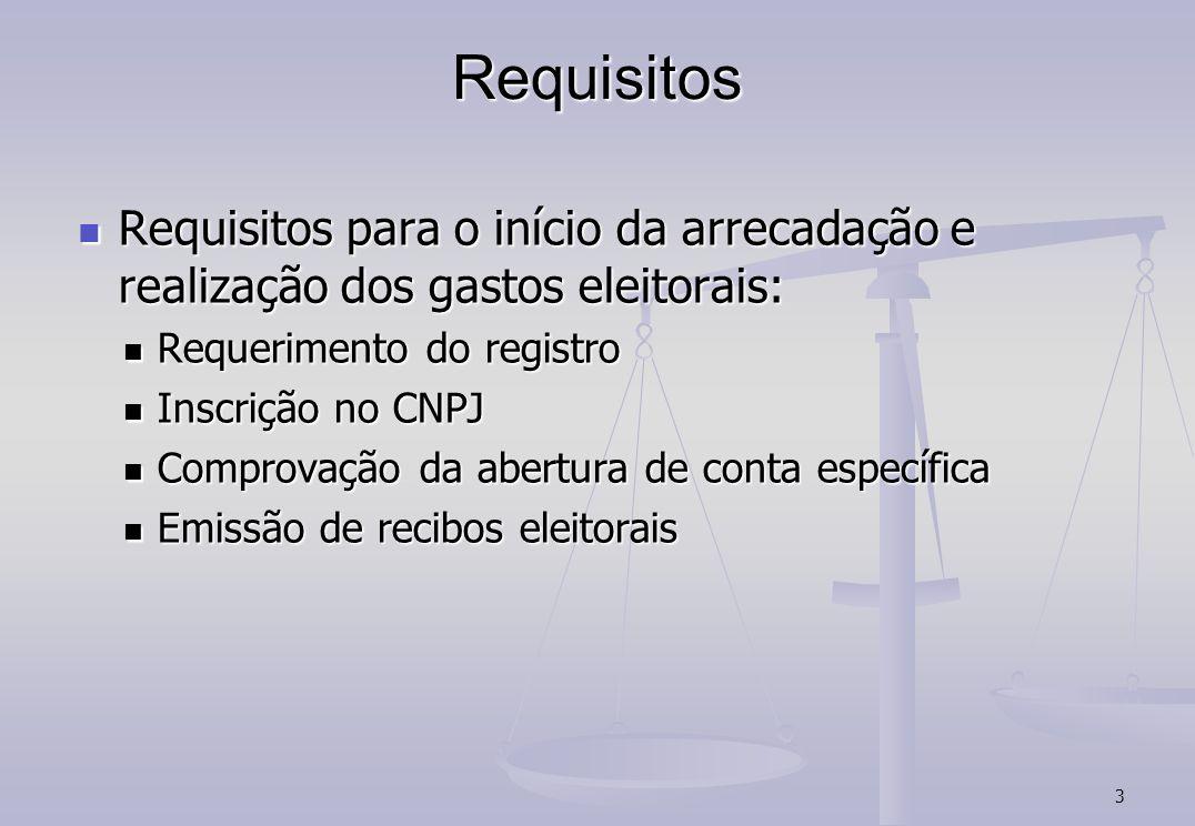 3 Requisitos Requisitos para o início da arrecadação e realização dos gastos eleitorais: Requisitos para o início da arrecadação e realização dos gast