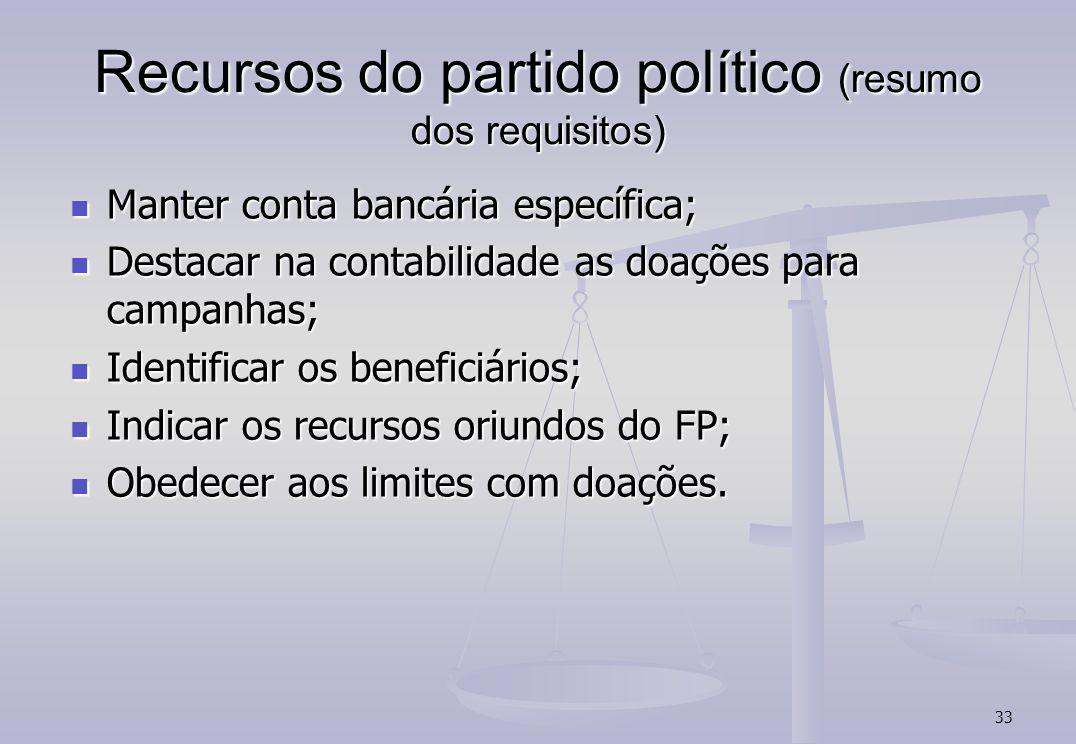 33 Recursos do partido político (resumo dos requisitos) Manter conta bancária específica; Manter conta bancária específica; Destacar na contabilidade