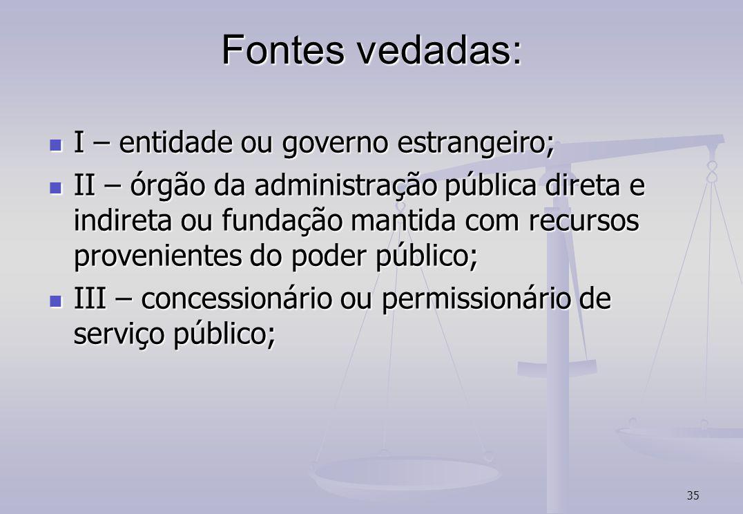 35 Fontes vedadas: I – entidade ou governo estrangeiro; I – entidade ou governo estrangeiro; II – órgão da administração pública direta e indireta ou