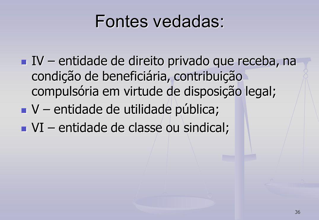 36 Fontes vedadas: IV – entidade de direito privado que receba, na condição de beneficiária, contribuição compulsória em virtude de disposição legal;