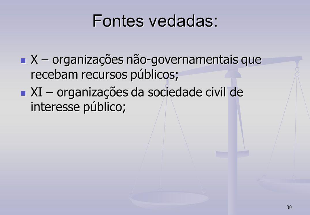 38 Fontes vedadas: X – organizações não-governamentais que recebam recursos públicos; X – organizações não-governamentais que recebam recursos públicos; XI – organizações da sociedade civil de interesse público; XI – organizações da sociedade civil de interesse público;