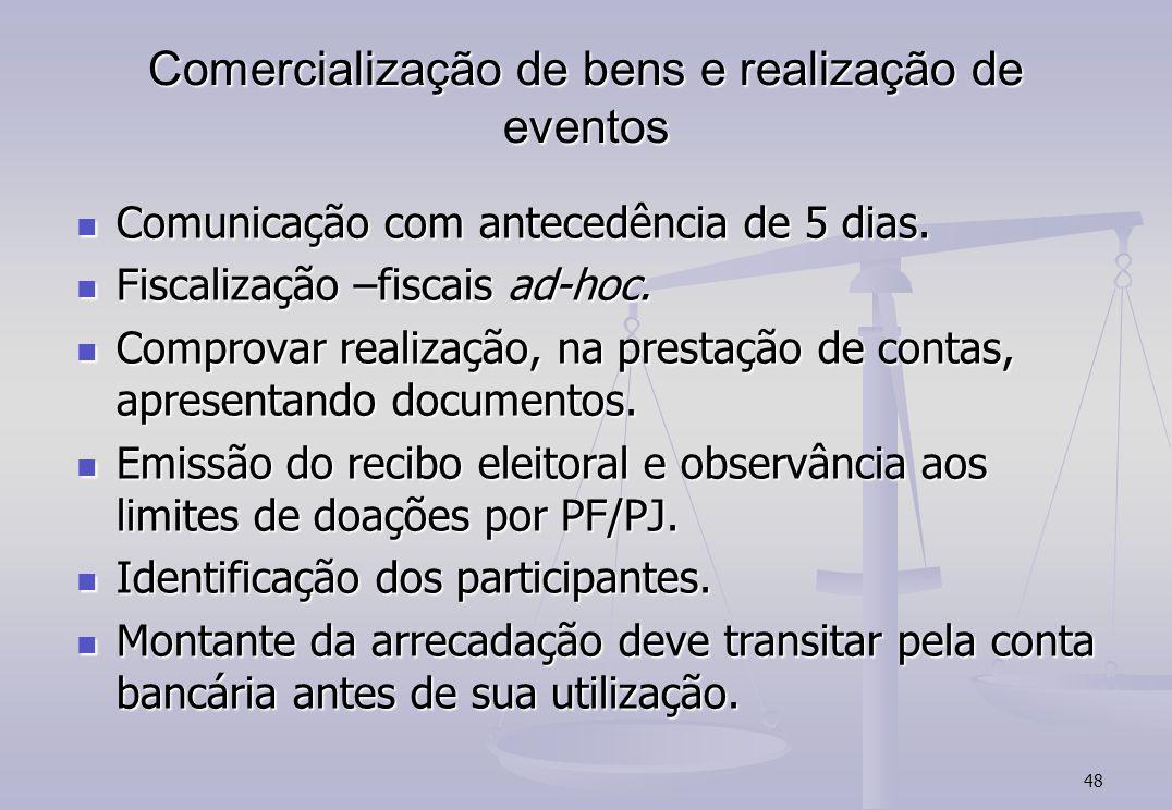 48 Comercialização de bens e realização de eventos Comunicação com antecedência de 5 dias. Comunicação com antecedência de 5 dias. Fiscalização –fisca