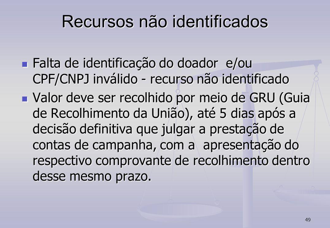 49 Recursos não identificados Falta de identificação do doador e/ou CPF/CNPJ inválido - recurso não identificado Falta de identificação do doador e/ou