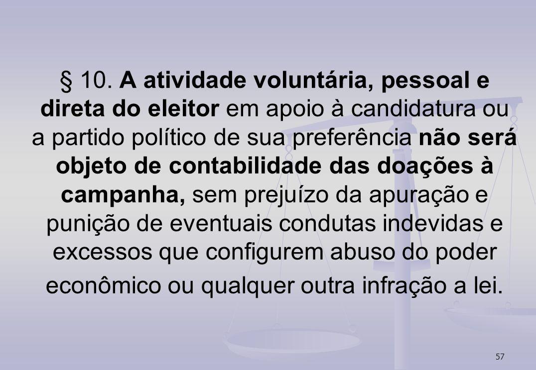 57 § 10. A atividade voluntária, pessoal e direta do eleitor em apoio à candidatura ou a partido político de sua preferência não será objeto de contab