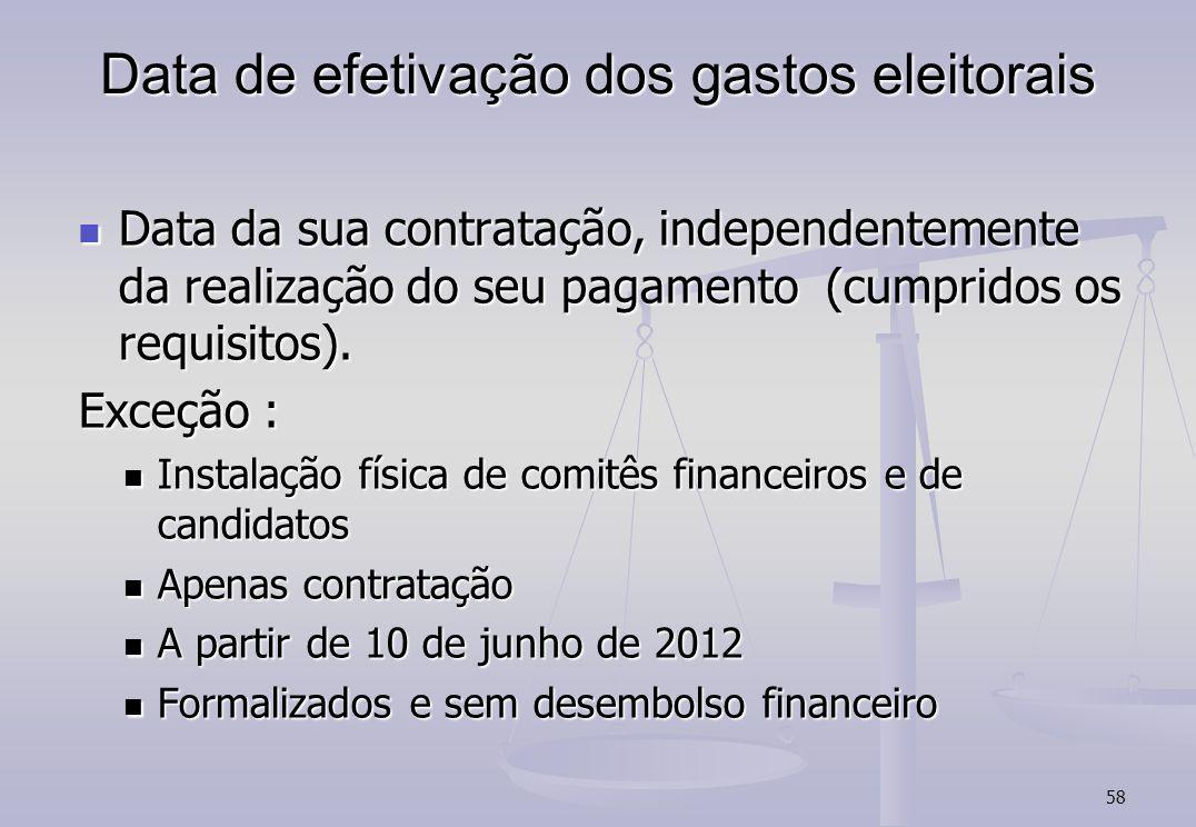 58 Data de efetivação dos gastos eleitorais Data da sua contratação, independentemente da realização do seu pagamento (cumpridos os requisitos). Data