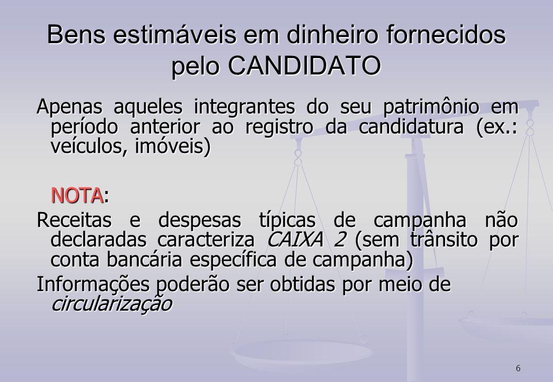 6 Bens estimáveis em dinheiro fornecidos pelo CANDIDATO Apenas aqueles integrantes do seu patrimônio em período anterior ao registro da candidatura (e
