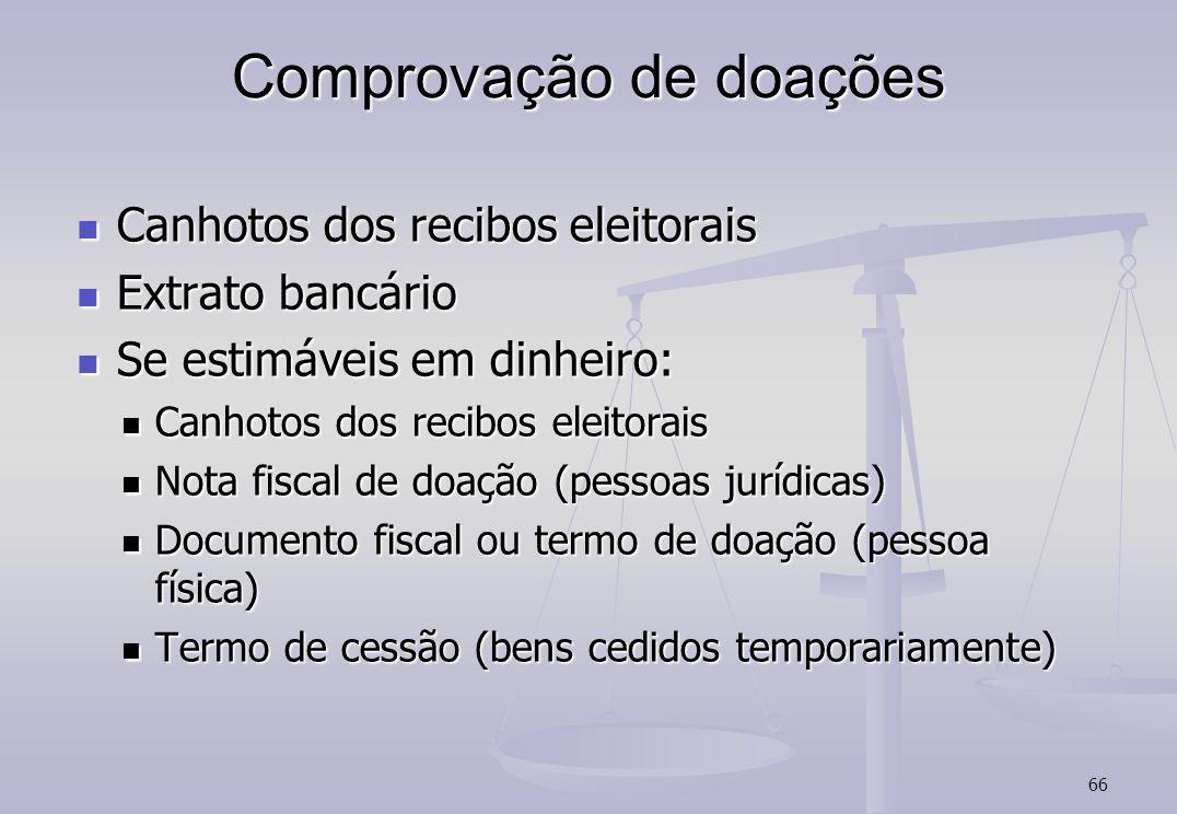 66 Comprovação de doações Canhotos dos recibos eleitorais Canhotos dos recibos eleitorais Extrato bancário Extrato bancário Se estimáveis em dinheiro: