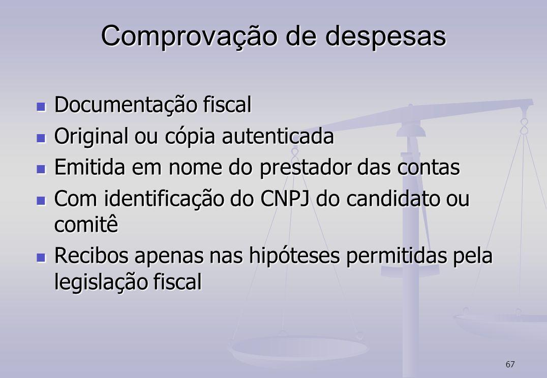 67 Comprovação de despesas Documentação fiscal Documentação fiscal Original ou cópia autenticada Original ou cópia autenticada Emitida em nome do pres