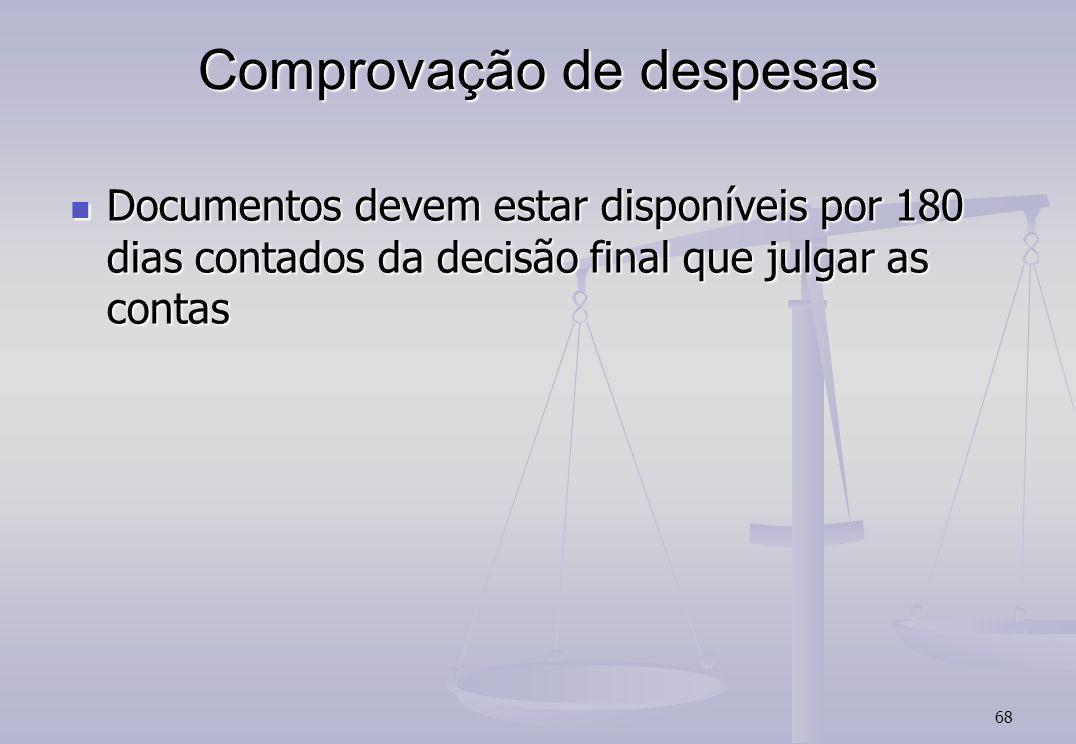 68 Comprovação de despesas Documentos devem estar disponíveis por 180 dias contados da decisão final que julgar as contas Documentos devem estar dispo