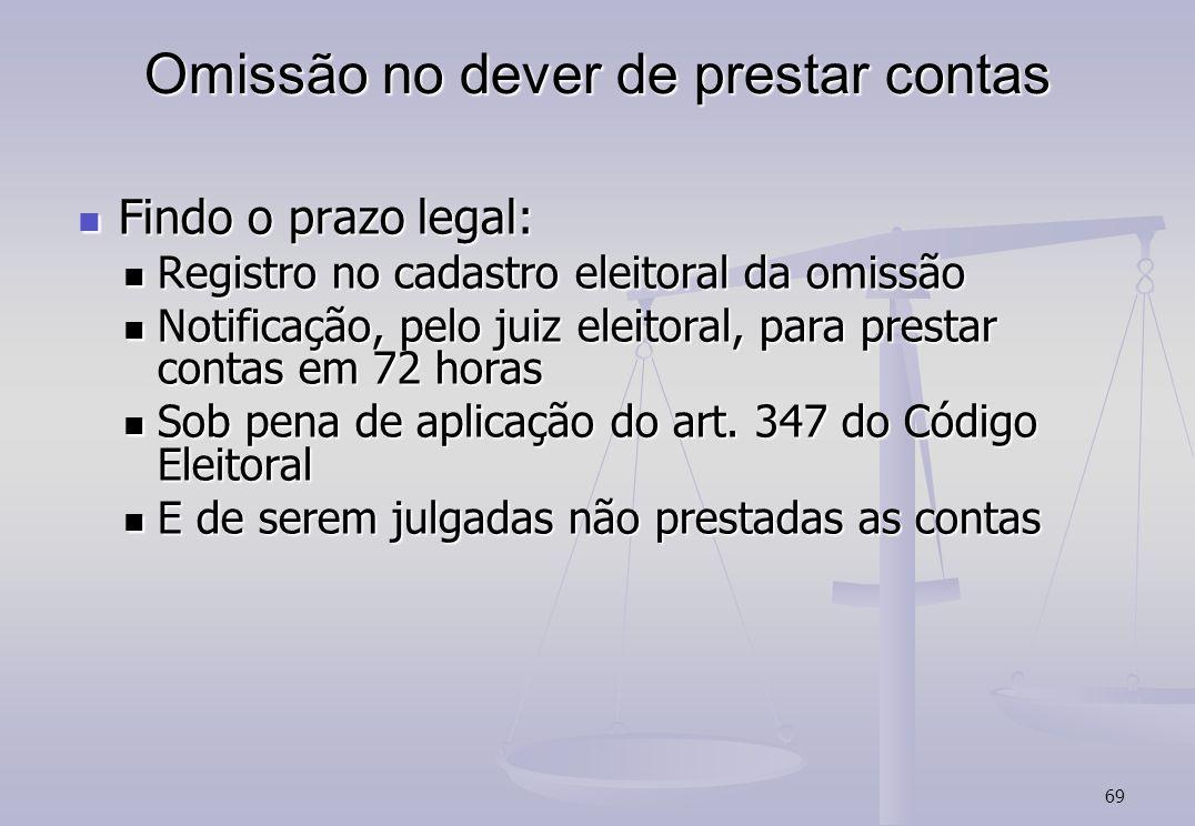 69 Omissão no dever de prestar contas Findo o prazo legal: Findo o prazo legal: Registro no cadastro eleitoral da omissão Registro no cadastro eleitor