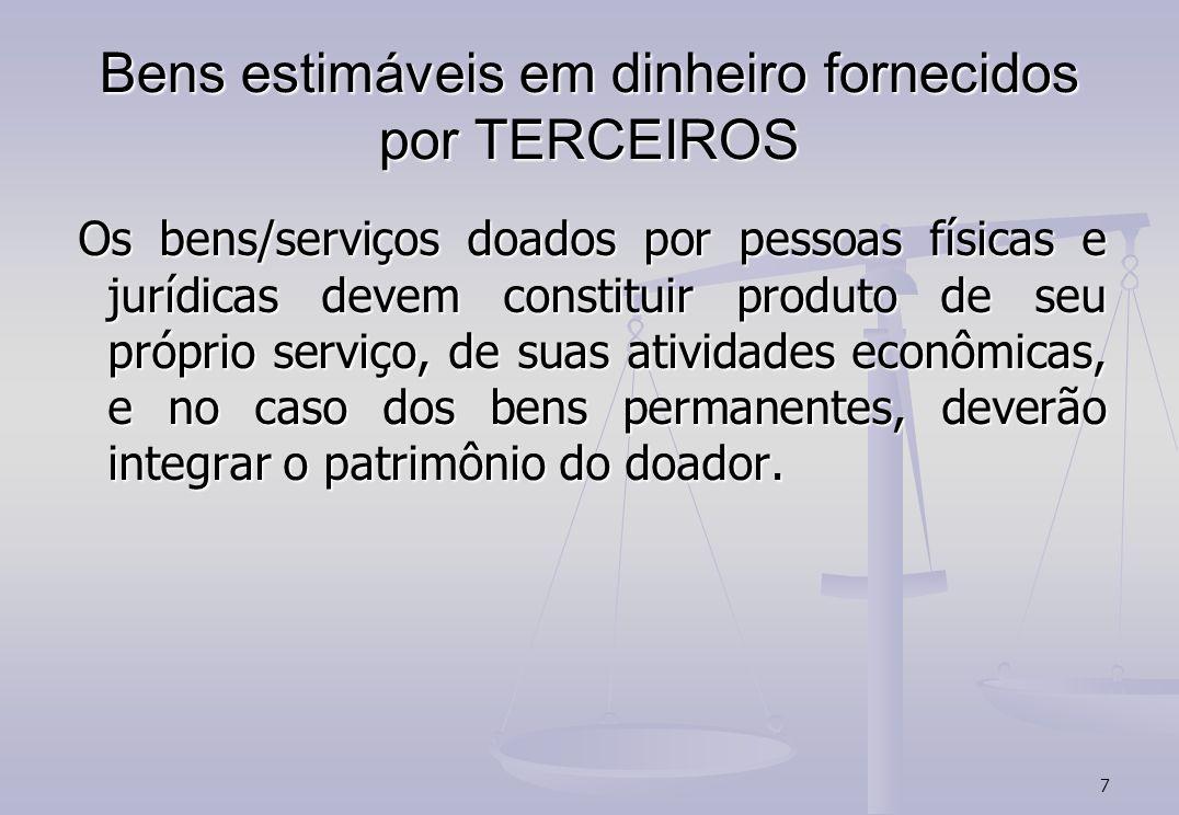 7 Bens estimáveis em dinheiro fornecidos por TERCEIROS Os bens/serviços doados por pessoas físicas e jurídicas devem constituir produto de seu próprio