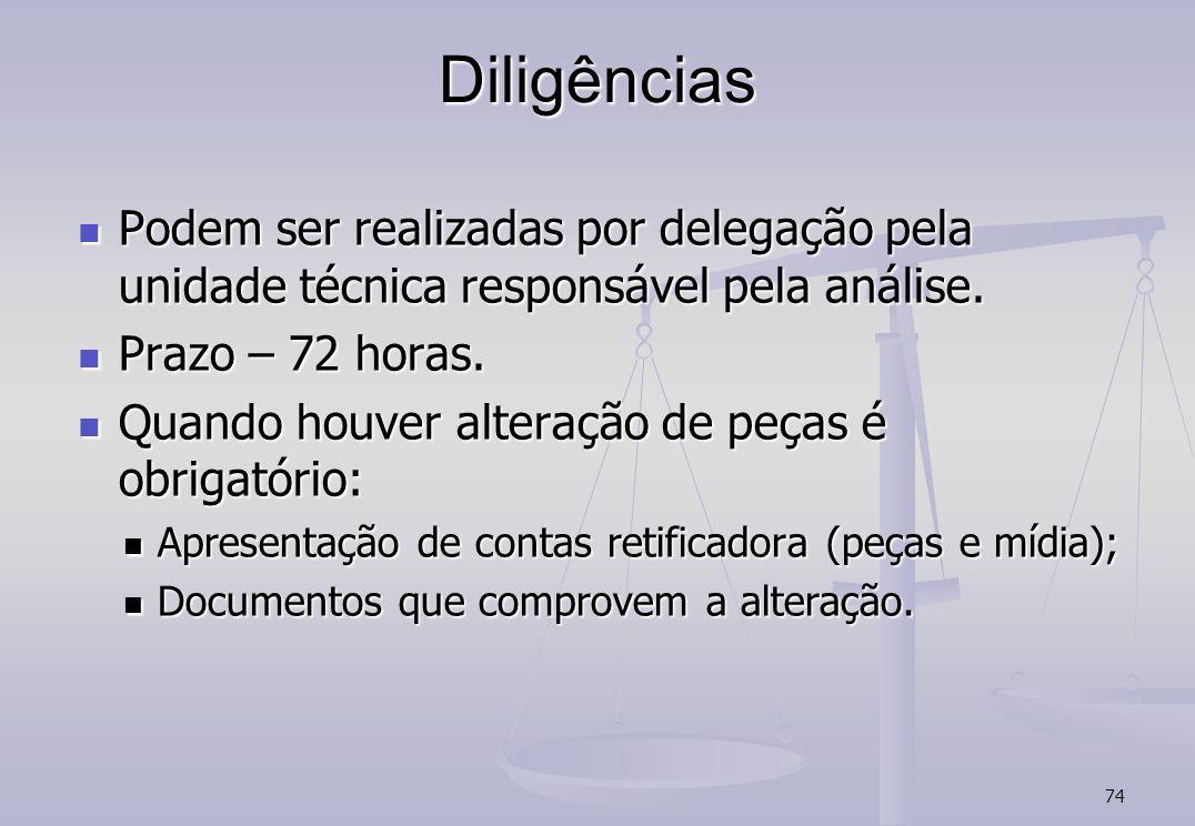 74 Diligências Podem ser realizadas por delegação pela unidade técnica responsável pela análise.