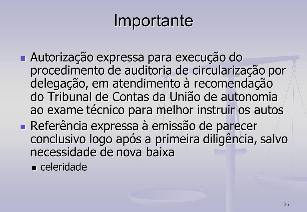76 Importante Autorização expressa para execução do procedimento de auditoria de circularização por delegação, em atendimento à recomendação do Tribun