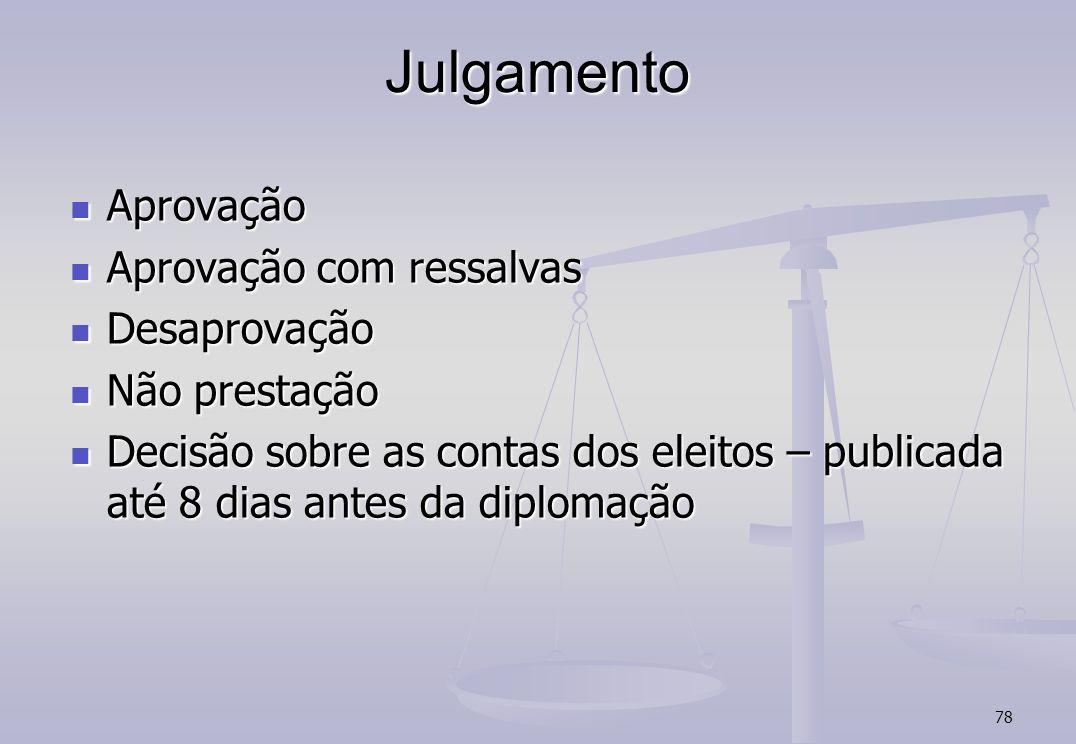 78 Julgamento Aprovação Aprovação Aprovação com ressalvas Aprovação com ressalvas Desaprovação Desaprovação Não prestação Não prestação Decisão sobre