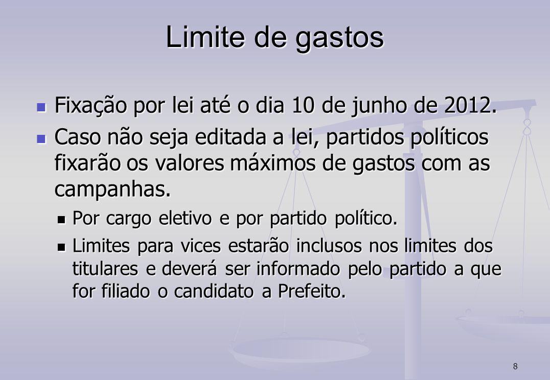 8 Limite de gastos Fixação por lei até o dia 10 de junho de 2012.