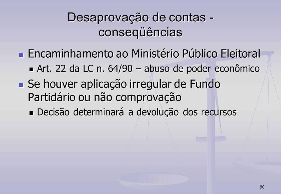 80 Desaprovação de contas - conseqüências Encaminhamento ao Ministério Público Eleitoral Encaminhamento ao Ministério Público Eleitoral Art.