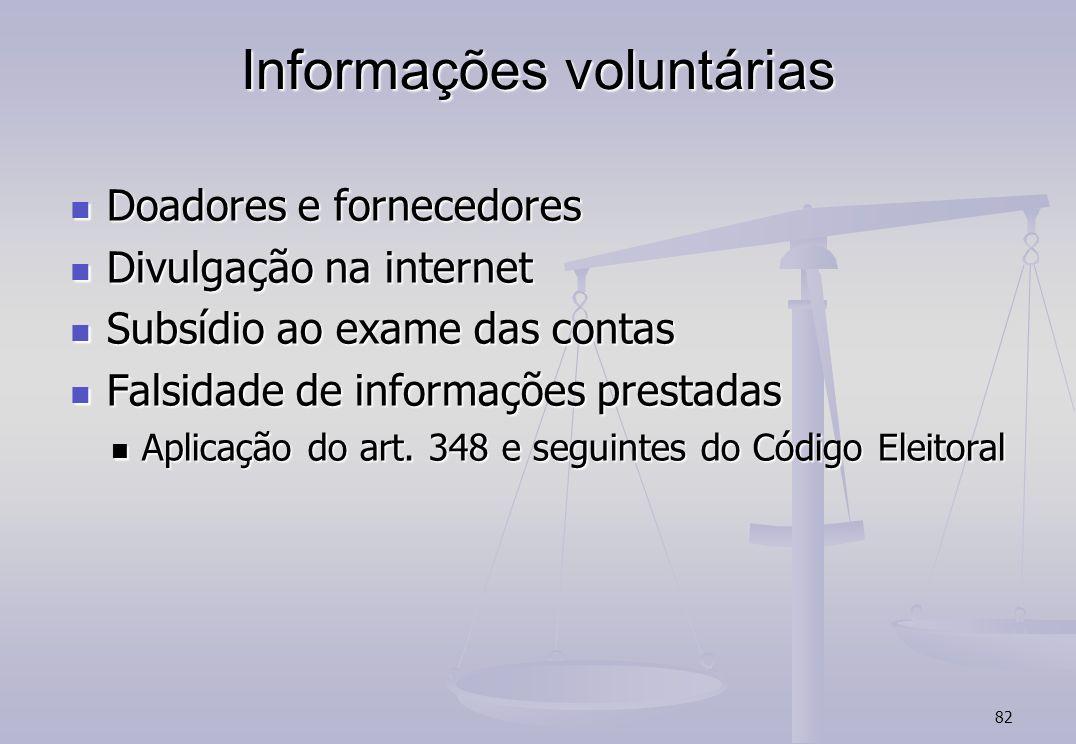 82 Informações voluntárias Doadores e fornecedores Doadores e fornecedores Divulgação na internet Divulgação na internet Subsídio ao exame das contas