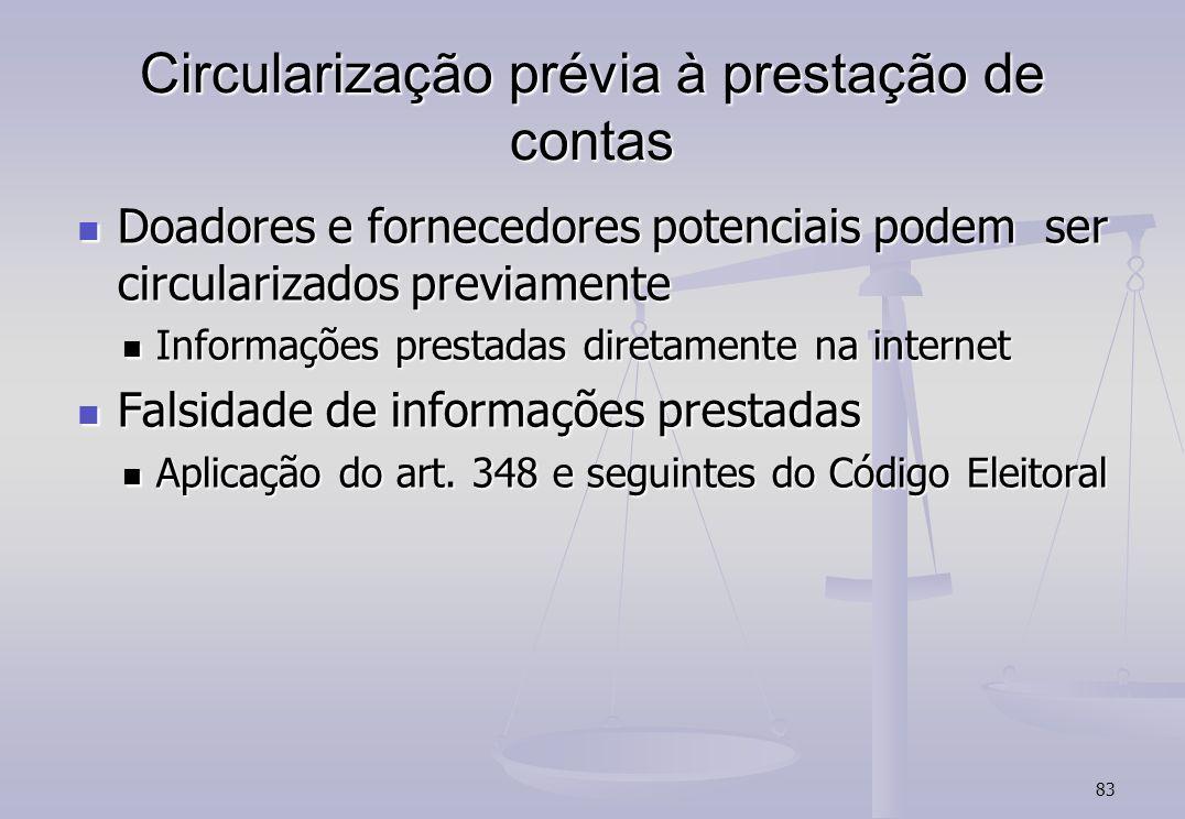 83 Circularização prévia à prestação de contas Doadores e fornecedores potenciais podem ser circularizados previamente Doadores e fornecedores potenci