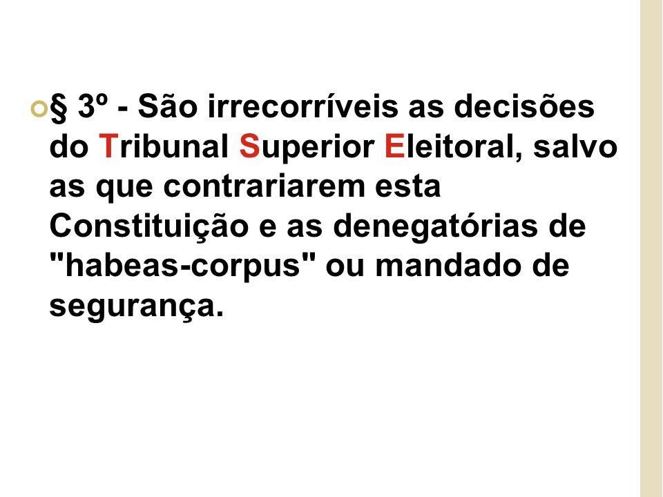 § 3º - São irrecorríveis as decisões do Tribunal Superior Eleitoral, salvo as que contrariarem esta Constituição e as denegatórias de habeas-corpus ou mandado de segurança.