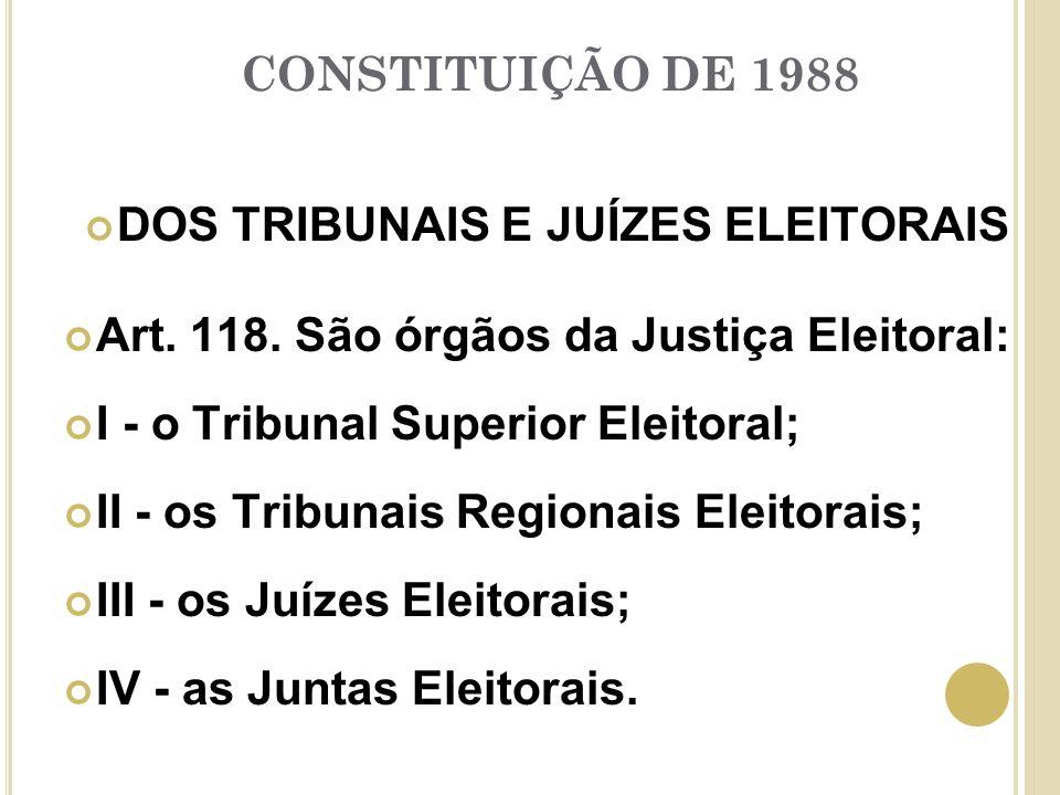 CONSTITUIÇÃO DE 1988 DOS TRIBUNAIS E JUÍZES ELEITORAIS Art.