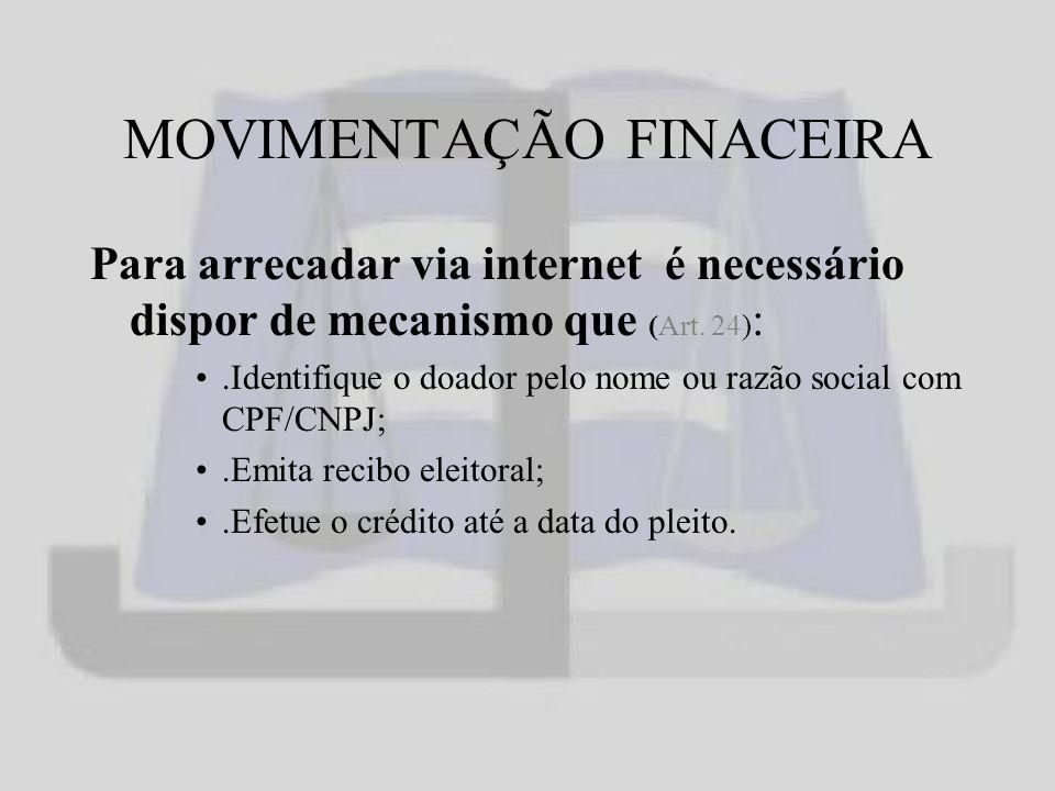 MOVIMENTAÇÃO FINACEIRA Para arrecadar via internet é necessário dispor de mecanismo que (Art.