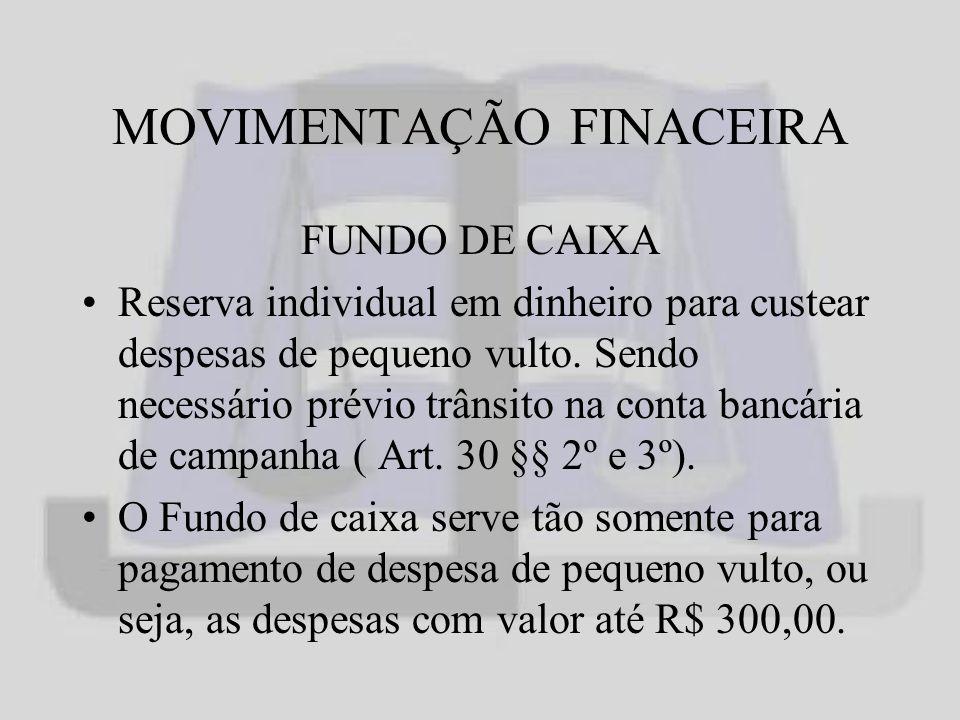 MOVIMENTAÇÃO FINACEIRA FUNDO DE CAIXA Reserva individual em dinheiro para custear despesas de pequeno vulto.