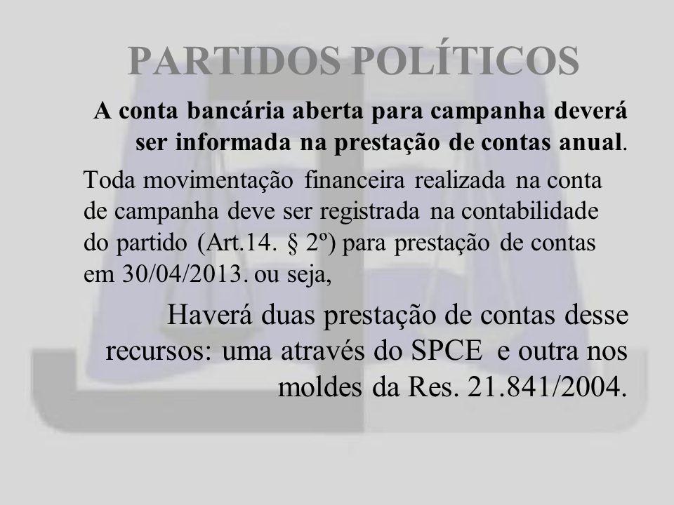 PARTIDOS POLÍTICOS A conta bancária aberta para campanha deverá ser informada na prestação de contas anual.